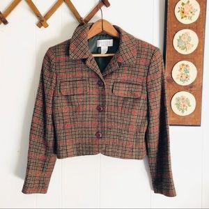 Vintage Plaid Wool Blend Cropped Blazer